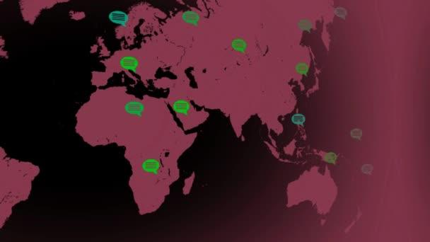 flache Farben - Landkarte bewegt sich von links nach rechts - Sprechblasen - Standorte - rosa Kontinent - schwarzer Hintergrund - linke Ansicht.