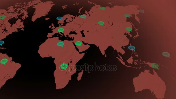 Flat colors - map moving from left to right - speech bubbles - locations - red continent - black background - Below view.