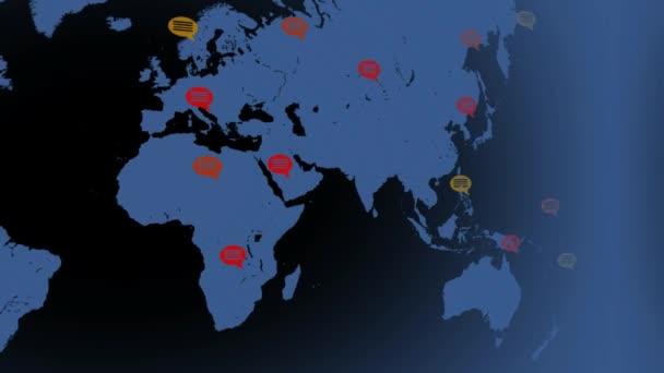 Plochý barvy - mapa z leva do prava - projev bubliny - umístění - modrý kontinent - černé pozadí - levý pohled.