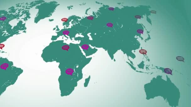 Plochou barvy - mapa směrem zleva doprava - bubliny - umístění - zelený světadíl - bílé pozadí - pod zobrazením
