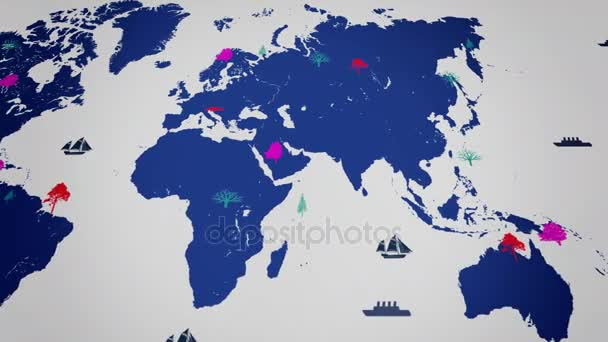 Vector Boats - Worldwide - Trees growing - map of the world - white background - blue continent - Below View.