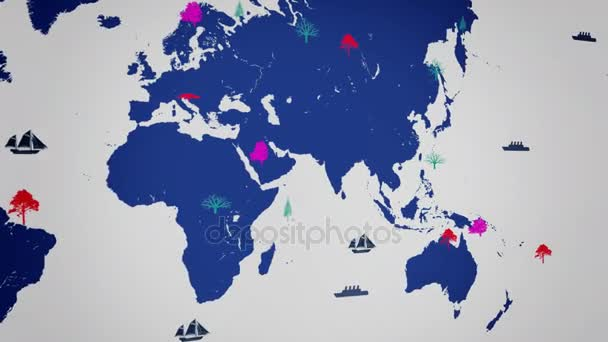 Vector Boats - Worldwide - Trees growing - map of the world - white background - blue continent - Left View