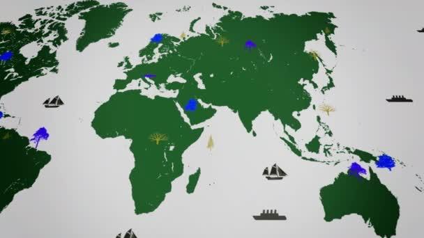 Vektor lodě - po celém světě - stromy - mapa svět - bílé pozadí - zeleného kontinentu - pod zobrazením