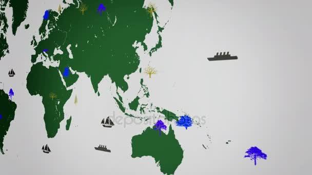 Dünya Haritası Beyaz Arka Plan Yeşil Kıta Sağ Görünümü Büyüyen