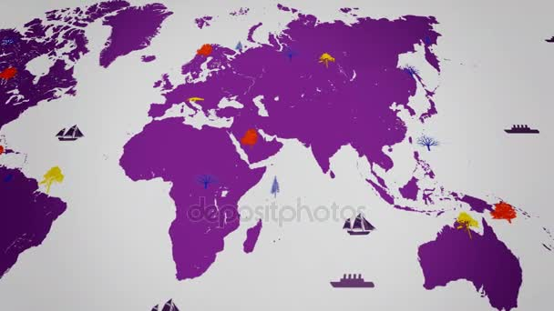 Vector Boats - Worldwide - Trees growing - map of the world - white background - purple continent - Below View