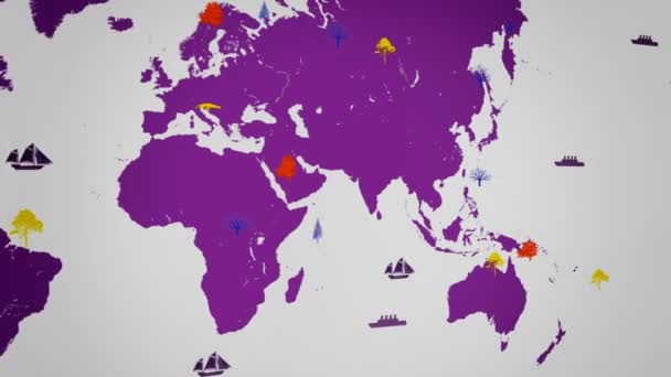 Vector Boats - Worldwide - Trees growing - map of the world - white background - purple continent - Left View