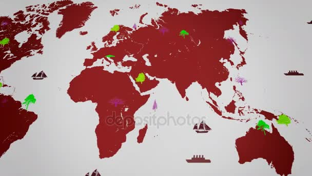 Vector Boats - Worldwide - Trees growing - map of the world - white background - red continent - below View