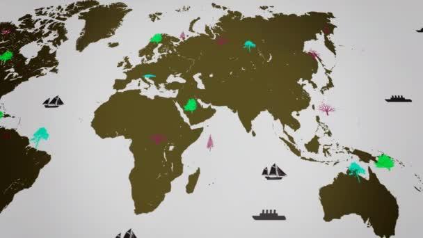 Vektor lodě - po celém světě - stromy - Mapa kontinentu světa - bílé pozadí - žlutá - pod zobrazením