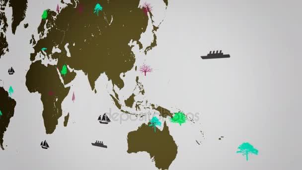 Vektor lodě - po celém světě - stromy - mapa světa - bílé pozadí - žlutá kontinent - vpravo pohled.