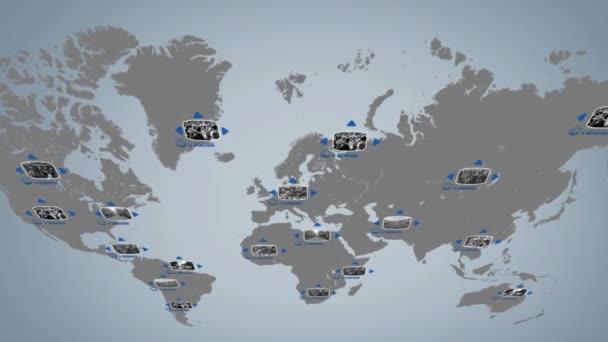 Svět - digitální displej - modrá - horní