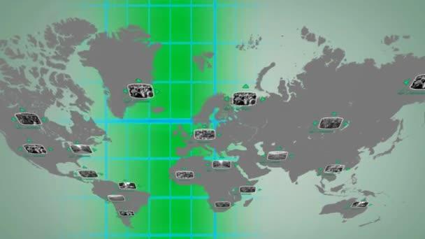 Svět - digitální displej - zelená - horní.