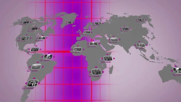 Svět - digitální obrazovka - fialová - níže