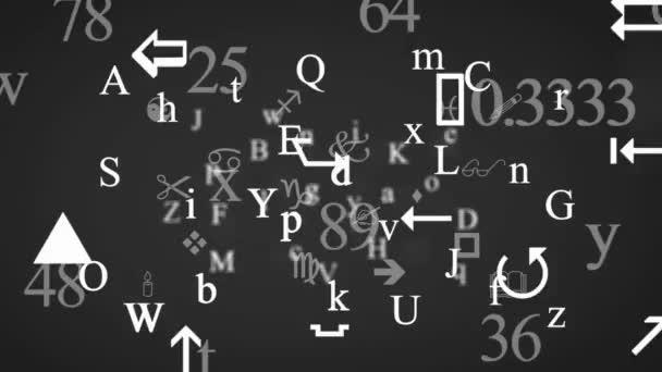 Reszkető betűk és jelek - háttér Loop - szimbólumok és rajzok - szürke