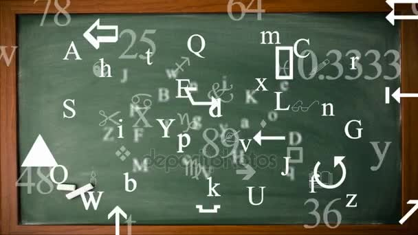 Trembling letters and signs - Background Loop - Symbols and drawings - Green Chalkboard.