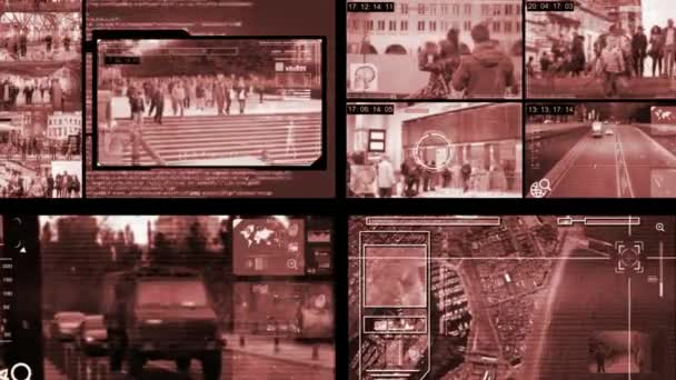 Obrazovka - Surveillance - Monitor - červené pruhy