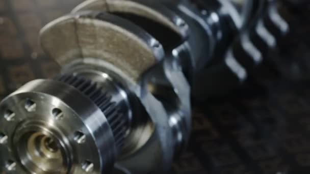 Diesel engine. Engine repair close up. In hands tool. Knee shaft