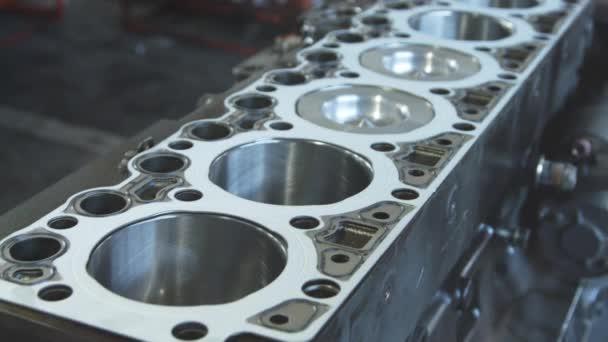 Diesel engine. Engine repair close up. In hands tool.