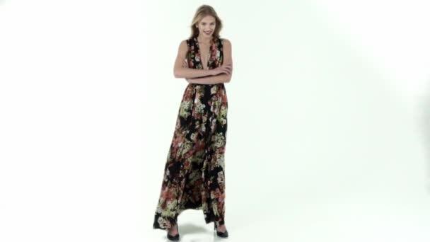 Elegant woman in a long dress