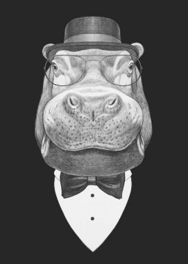 Portrait of Hippo in suit.