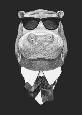 Portrait of Hippo in suit.