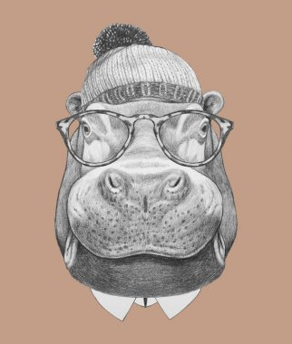 Hippo with glasses, hat and bow tie.