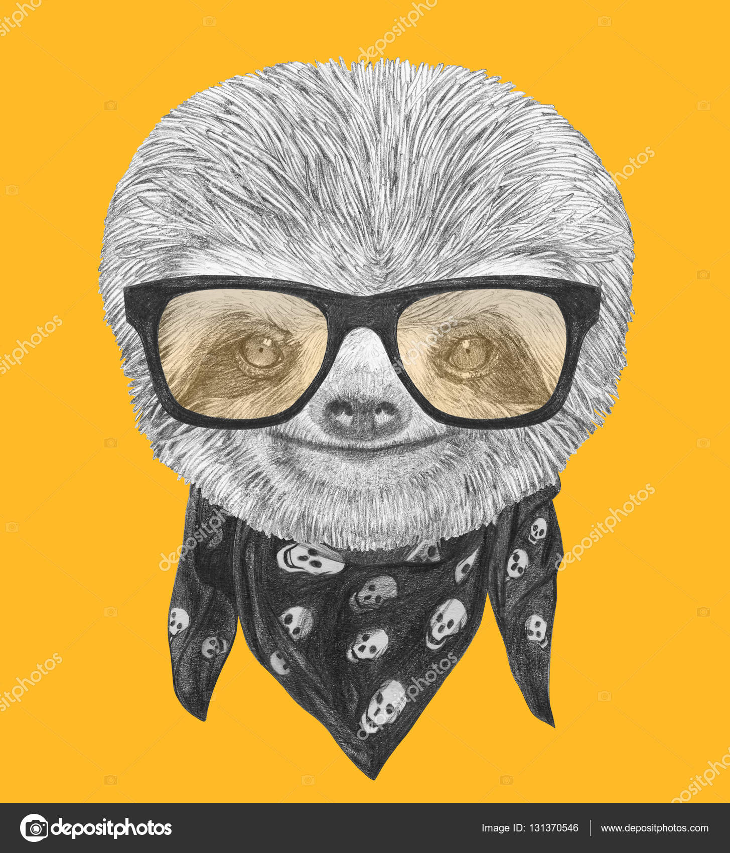 portrait of sloth with sunglasses and scarf stock photo