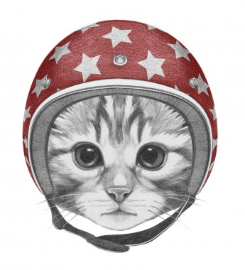 Portrait of Kitty in helmet