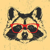 Photo Portrait of Raccoon with glasses.