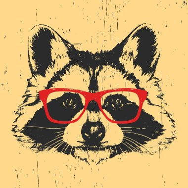 Portrait of Raccoon with glasses.