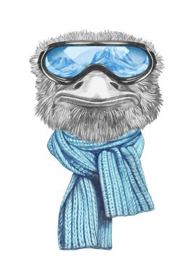 Funny sketch portrait of ostrich in blue scarf and snowboarding goggles with reflection of mountains