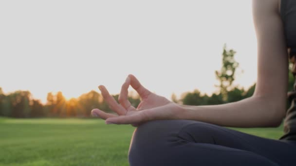 Hands a girl in namaste mudra pose while meditating on green grass at sunset.