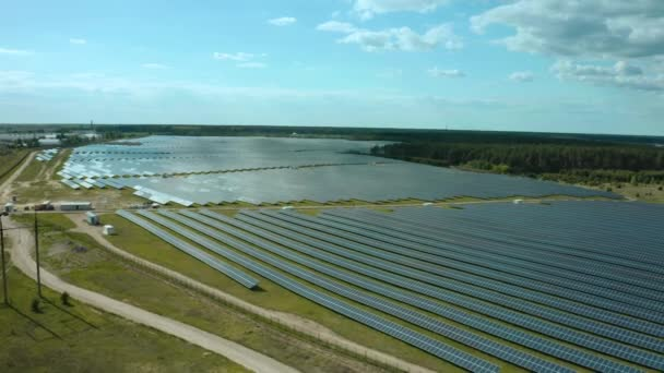 Top view of a solar power station, renewable energy, solar panels.