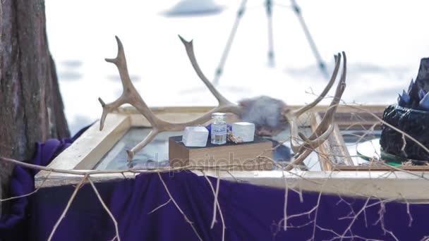 Abstraktní Design výstava v zimě lese