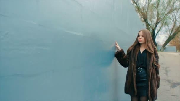 Bruneta žena sako hnědé srsti procházky podél zdi Zpomalený pohyb