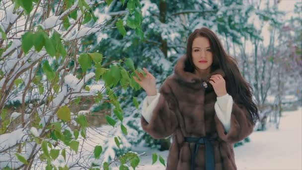 brunette stylish girl near green trees in winter, in brown fur coat slow motion