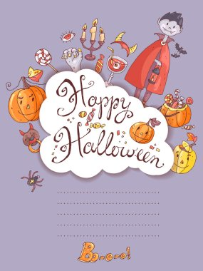 halloween greeting card with the vampire