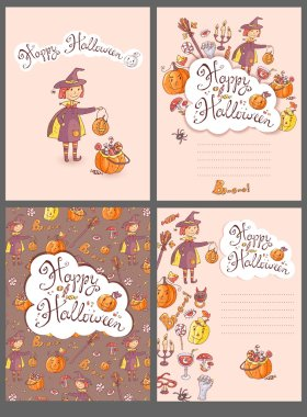 halloween greeting cards set with the witch
