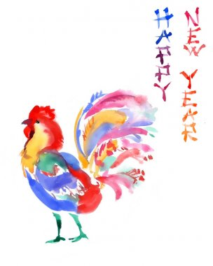 Watercolor  greeting card with the rooster