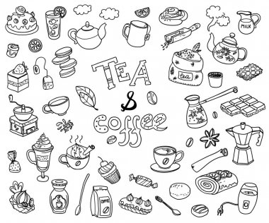 collection of doodle tea and coffee