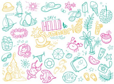 cute doodles collection of summer