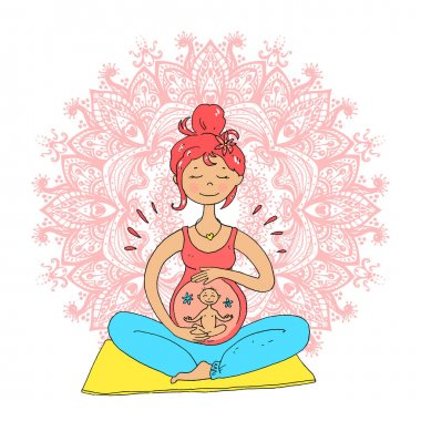 Pregnant woman in lotus position