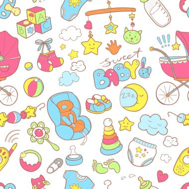 Newborn themed doodle pattern