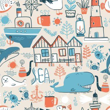 North sea ,scandinavian style symbols