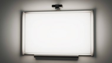 interactive whiteboard with a multimedia projector 3d illustrati