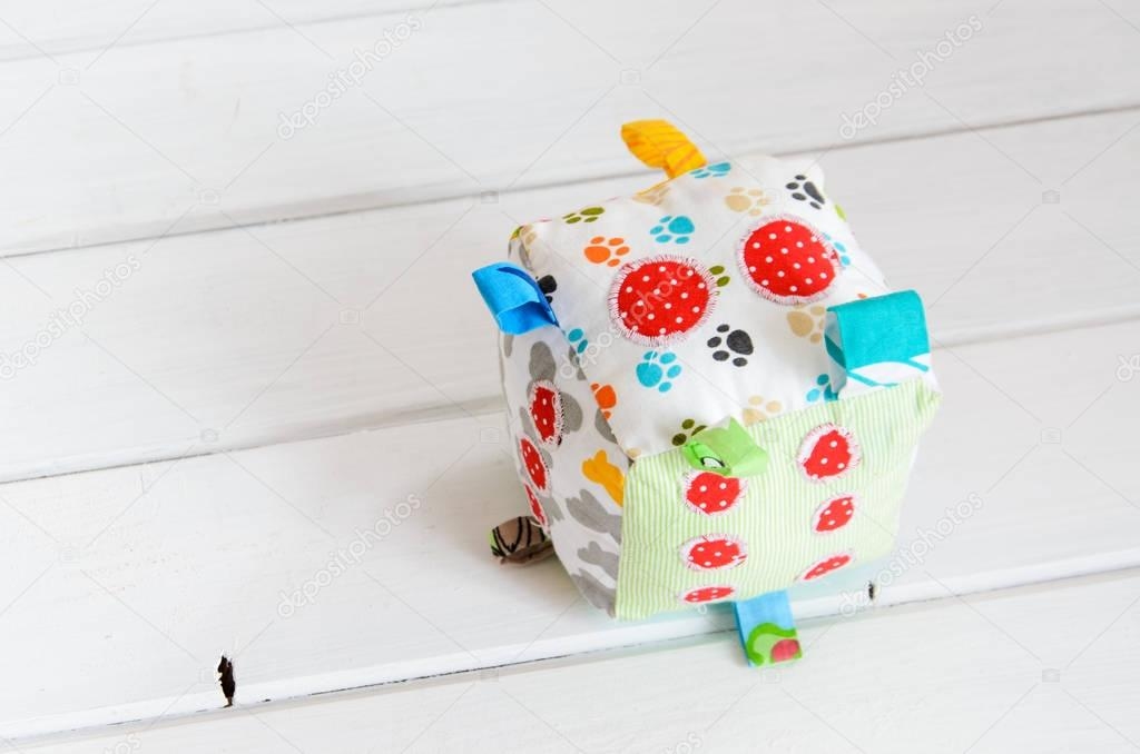 handmade toy dice pillow with copy space