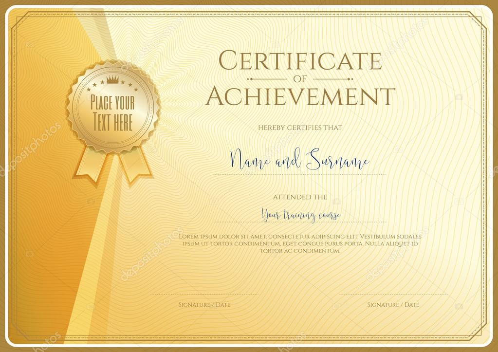 certificate template for achievement appreciation or completion in