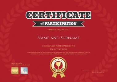Certificate of participation in red sport theme with gold trophy seal and award laurel background
