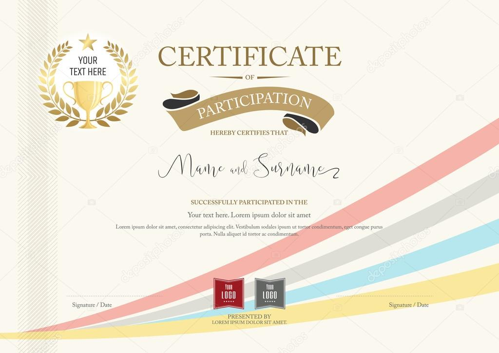 certificate of participation template with golden award laurel and