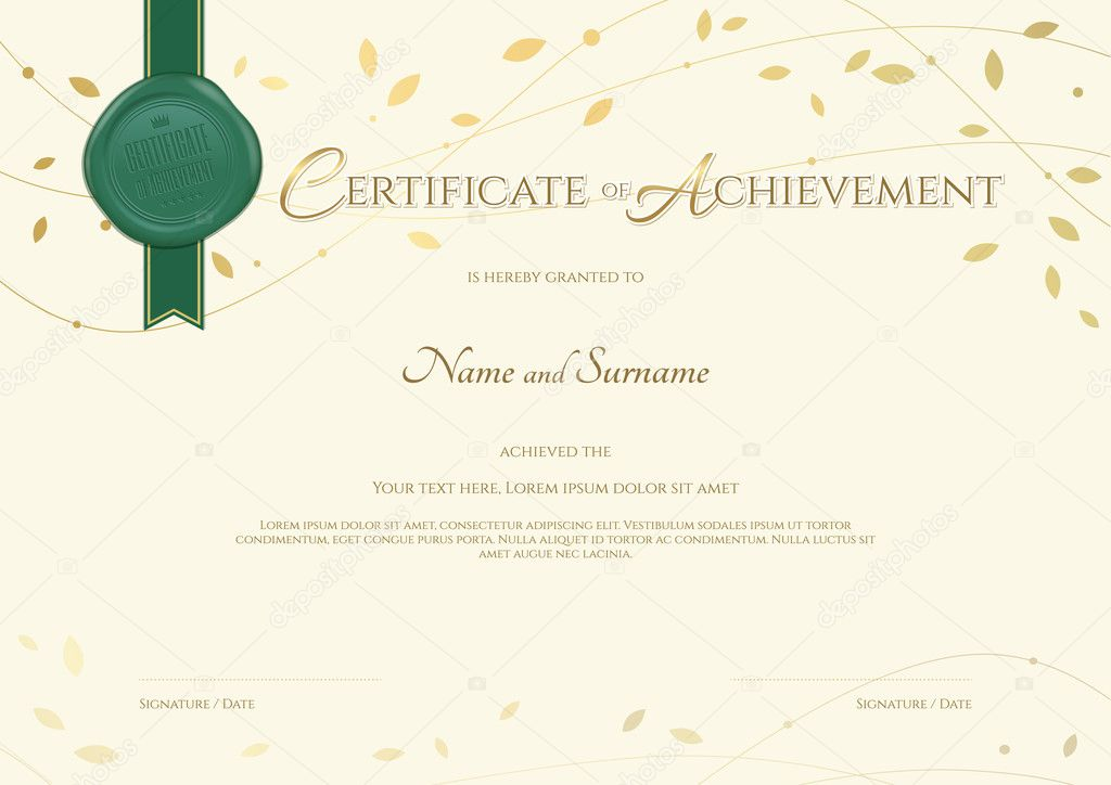 certificate of achievement template in environment theme with green wax seal and award ribbon and flying