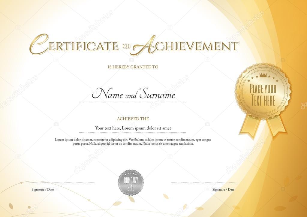 certificate of achievement template with environment theme in gold color stock vector - Certificate Of Accomplishment Template